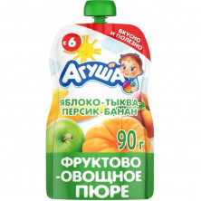 Агуша пюре Яблоко, Тыква, Персик, Банан, 90 гр, 6мес+ - пауч