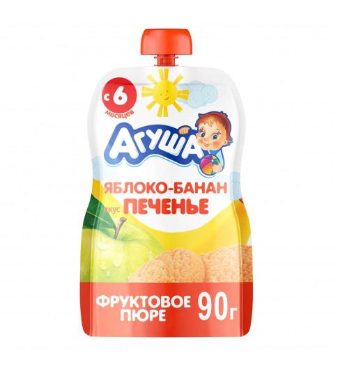 Агуша пюре Яблоко Банан Печенье, 6мес+, 90 гр - пауч