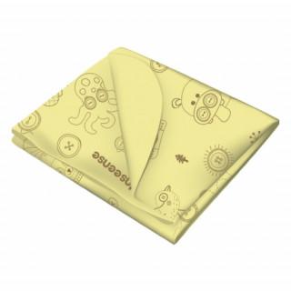 Inseense Клеёнка 0,7*1 мет подкладная с ПВХ-покрытием без обработки тесьмой (желтый с рисунком) - Инсайнс