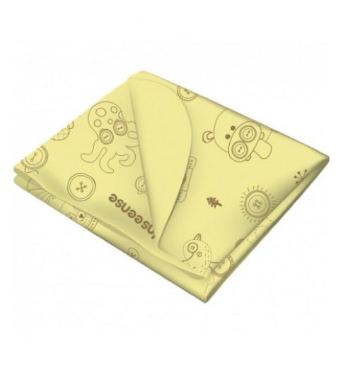 Inseense Клеёнка 0,7*1 мет подкладная с ПВХ-покрытием без обработки тесьмой (желтый с рисунком), 0,7*1 метр - Инсайнс