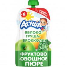 Агуша пюре Яблоко Груша Брокколи, 90 гр, 6мес+ - пауч