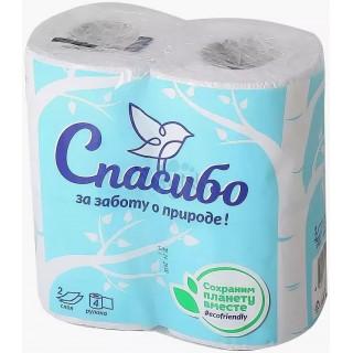 """Plushe Туалетная бумага """"Спасибо за заботу о природе"""" 2 слоя белая 4 рулона"""