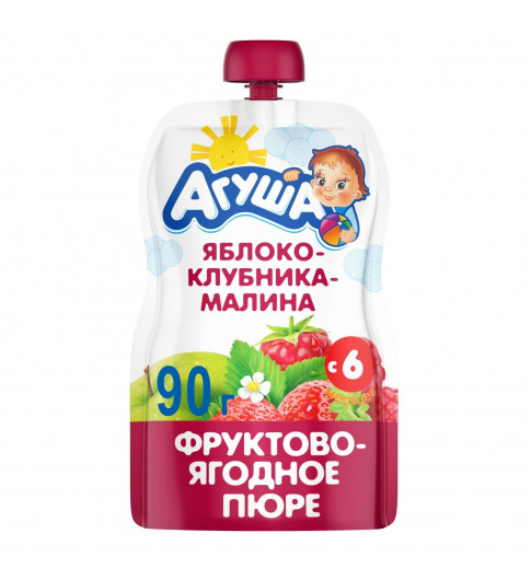 Агуша пюре Яблоко Клубника Малина, 6мес+, 90 гр - пауч