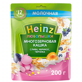 Heinz Любопышка молочная слива, абрикос, черника, 12мес+, 200 гр
