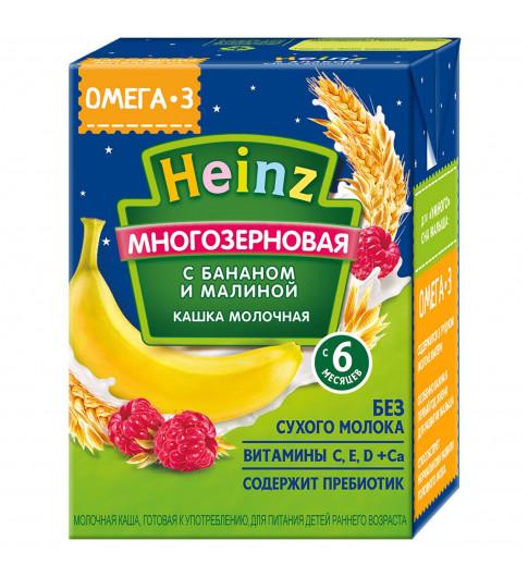 Heinz Кашка молочная мультизерновая банан-малина, 6мес+, 200 мл  Хайнц