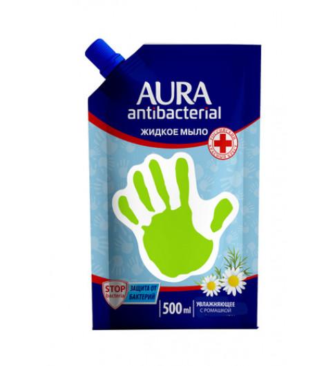 Aura жидкое мыло для рук антибактериальное с эффектом РОМАШКА дой-пак 500мл