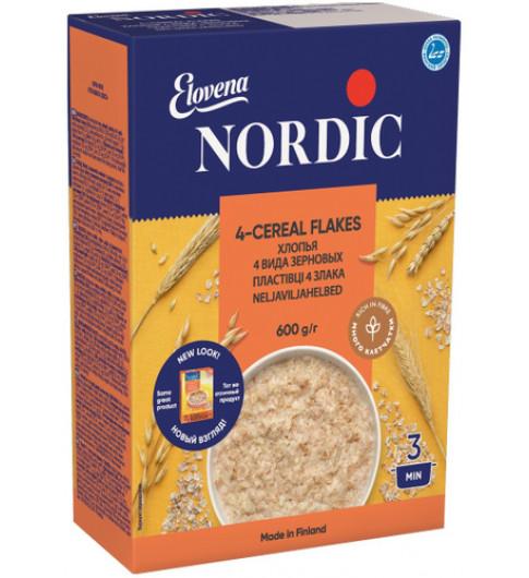 Nordic Хлопья Четерех видов зерновых, 600 гр Нордик варить 3 минуты