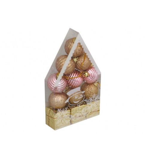 """Новогоднее украшение, набор елочных шаров, 12 шт """"Красивый домик"""""""