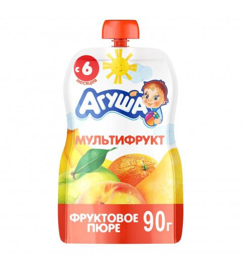 Агуша пюре Мультифрукт, 6мес+, 90 гр - пауч