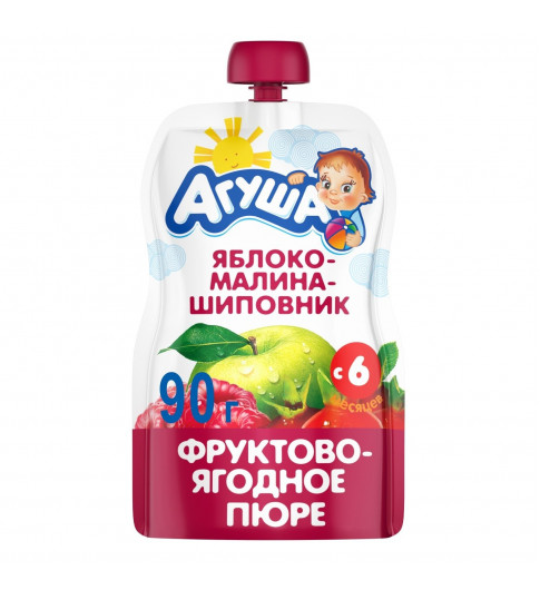 Агуша пюре Яблоко Малина Щиповник, 6мес+, 90 гр - пауч