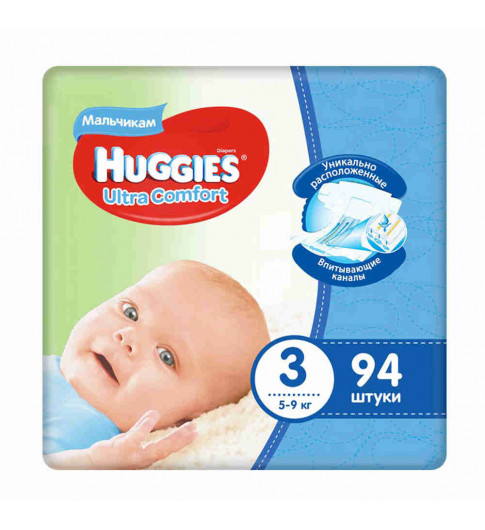 Huggies Подгузники Ultra Comfort д/мал р3 5-9кг 94шт Хаггис
