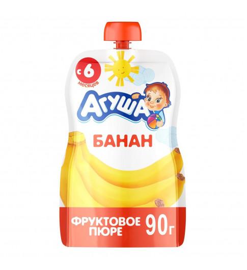 Агуша пюре Банан, 6мес+, 90 гр - пауч