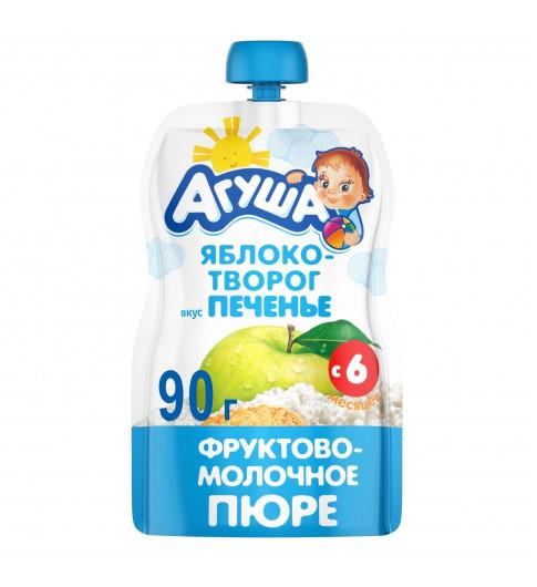 Агуша пюре Яблоко Творог Печенье, 6мес+, 90 гр - пауч