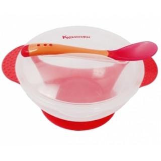 Бусинка тарелка с термоложкой, 3мес+ - на присоске (красный,желтый,синий)