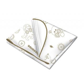 Inseense Клеёнка 0,7*1м подкладная с ПВХ-покрытием с отделкой тесьмой (белый с рисунком) - Инсайнс