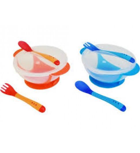 Бусинка тарелка с термоложкой и термовилкой, 3мес+