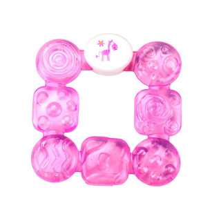Бусинка Прорезыватель Квадрат (розовый, голобуй)