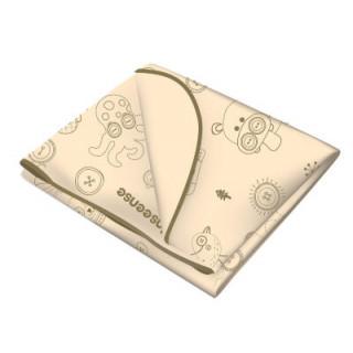 Inseense Клеёнка 0,7*1м подкладная с ПВХ-покрытием с отделкой тесьмой (бежевый с рисунком) - Инсайнс