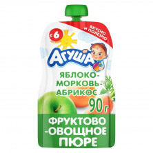 Агуша пюре Яблоко, Морковь, Абрикос, 90 гр, 6мес+ - пауч