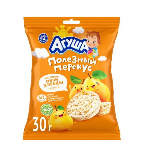 Агуша Хлебцы Мини Рисовые с грушевым соком, 30 гр, 12 мес+
