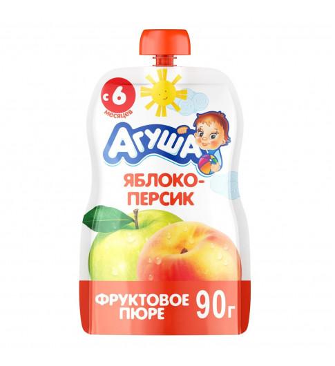 Агуша пюре Яблоко Персик, 6мес+, 90 гр - пауч