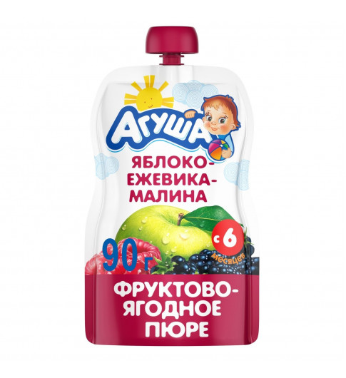 Агуша пюре Яблоко Ежевика Малина, 6мес+, 90 гр - пауч