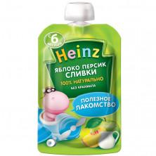 Heinz Пюре Яблоко Персик, Сливки, 6мес+, 90 гр с сахаром Хайнц