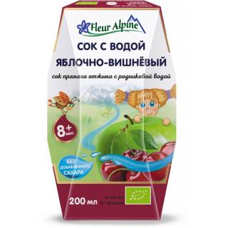 Флер Альпин (Fleur Alpine) сок с водой Яблочно Вишневый 8мес+, 200 мл - без сахара