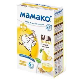 Мамако ПШЕНИЧНАЯ С ГРУШЕЙ И БАНАНОМ каша на козьем молоке, 6мес+, 200 гр.