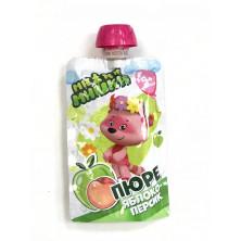 МиМиМишки Детское пюре Яблоко Персик, 90 гр. 5мес+ - без сахара пауч