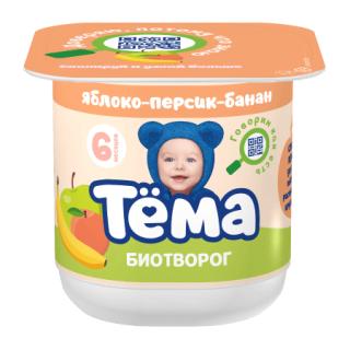 10.11 Тема Биотворог с Яблоком, Персиком и Бананом, 6 мес+, 100 гр