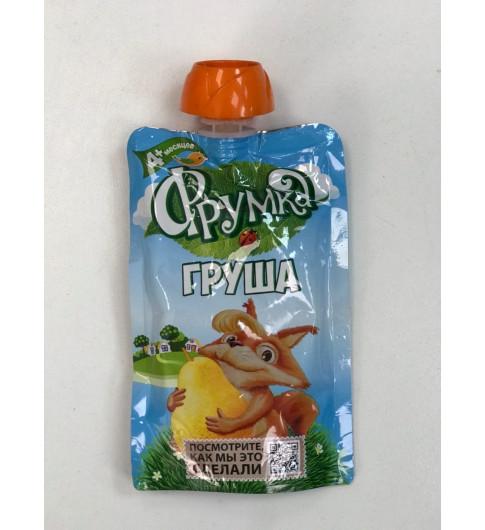 Фрумка Детское Пюре Груша, 4мес+, 90 гр - без сахара, пауч