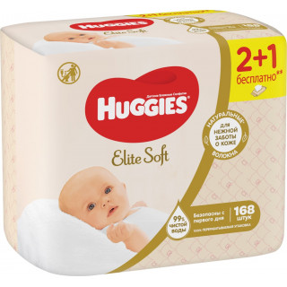 Huggies Влажные салфетки Elite Soft 168 шт - 3 пачки по 56 шт