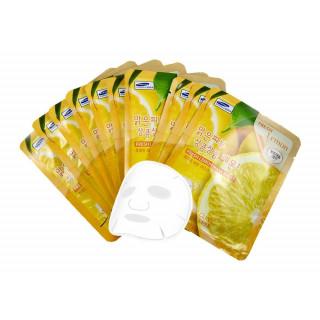 3W Clinic Тканевая маска для лица Лимон, 23 мл, 1 шт - КОРЕЯ (богатый витамином С, который осветляет кожу)