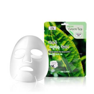 3W Clinic Тканевая маска для лица Зеленый Чай, 23 мл, 1 шт - КОРЕЯ (увлажняет, успокаивает воспаленную и раздраженную кожу)