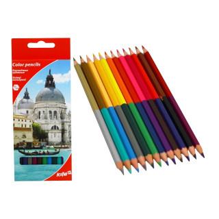 Карандаши цветные 12шт 24цв Kite Города двухсторонние шестигранные