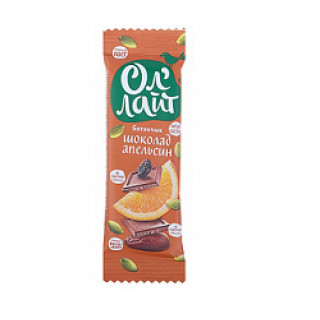 Ол'Лайт Фруктово-Ореховый Баточик Шокаладный с Апельсином, 30 гр
