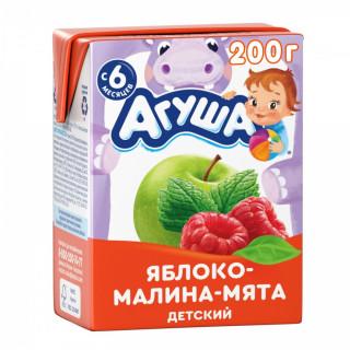 Агуша напиток яблоко-малина-мята 200мл с 6мес. - без сахара