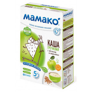 Мамако ГРЕЧНЕВАЯ С ЯБЛОКОМ И МОРКОВЬЮ каша на козьем молоке, 6мес+, 200 гр.