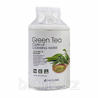 3W CLINIC Вода Мицелярная очищающая Зеленый Чай, 500 мл   для всех типов кожи.