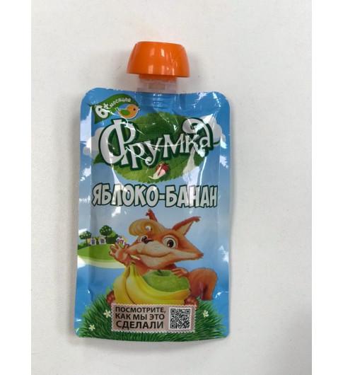 Фрумка Детское Пюре Яблоко Банан, 4мес+, 90 гр - без сахара, пауч