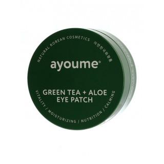 Ayoume Патчи для глаз от отечности с экстрактом зеленого чая и алоэ GREEN TEA+ALOE EYE PATCH, 60шт