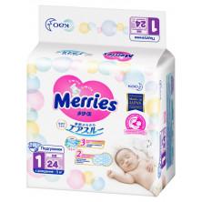 MERRIES Подгузники для новорожденных 5кг, 24шт Мерриес