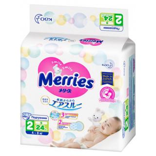 MERRIES Подгузники для детей размер S 4-8кг, 24шт