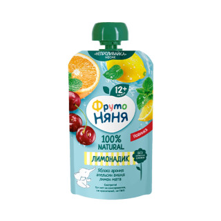 Фрутоняня Лимонадик Яблоко-арония-апельсин-вишня-лимон-мята 130 гр - без сахара
