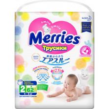 MERRIES  Трусики-подгузники для детей размер S 4-8 кг, 62 шт