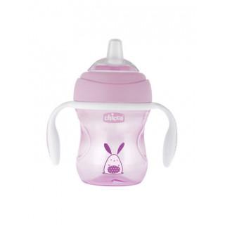 Chicco  ПоильникTransition Cup с носиком 200мл с 4месяцев розовый