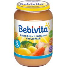 Bebivita Детское пюре Картофель с овощами и индейкой, 190 гр. 9мес+