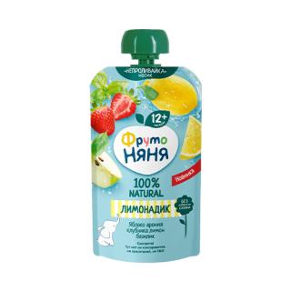 Фрутоняня Лимонадик Яблоко-арония-клубника-лимон-базилик, без сахара, пауч, 12мес+ 130 ГР