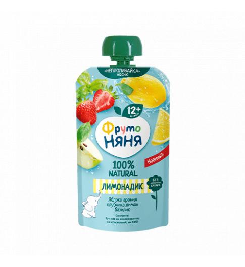 Фрутоняня Лимонадик Яблоко-арония-клубника-лимон-базилик, без сахара, пауч, 12мес+